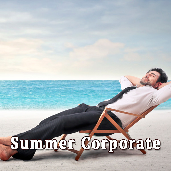 Businessman on a sunbed, summer corporate