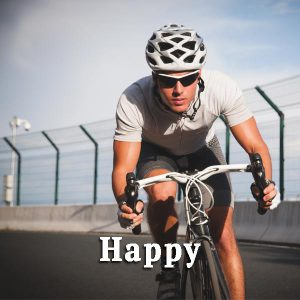 Cyclist, happy